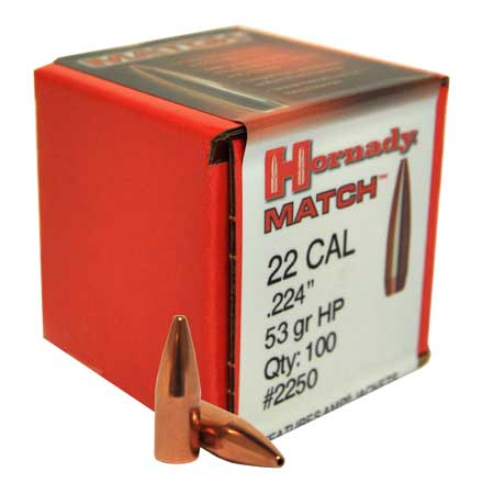 22 Caliber .224 Diameter 53 Grain Hollow Point Match 100 Count