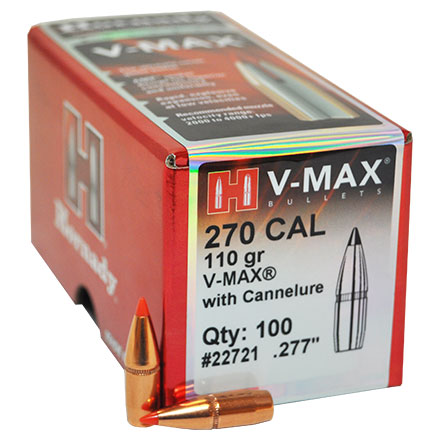 270 Caliber .277 Diameter 110 Grain V-Max With Cannelure 100 Count