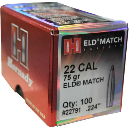 22 Caliber .224 Diameter 75 Grain ELD Match 100 Count