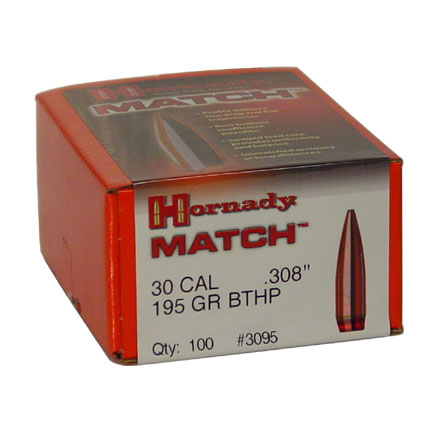 30 Caliber .308 Diameter 195 Grain BTHP 100 Count
