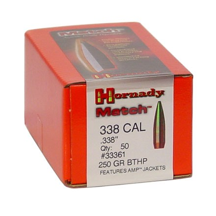 338 Caliber .338 Diameter 250 Grain Boat Tail Hollow Point Match 50 Count