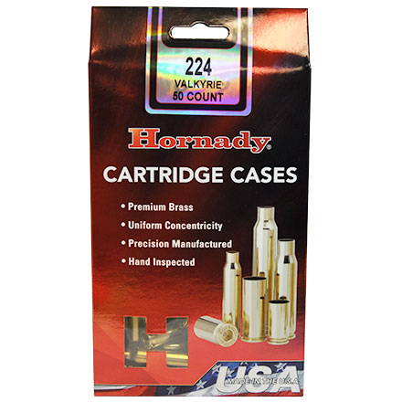 224 Valkyrie Hornady Unprimed Rifle Brass 50 Count