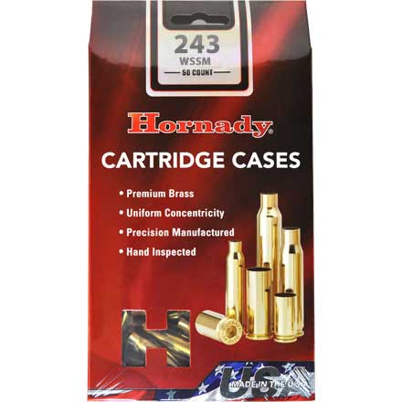 243 Winchester Super Short Mag Unprimed Rifle Brass 50 Count