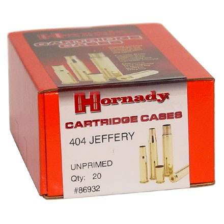 404 Jeffery Unprimed Rifle Brass 20 Count