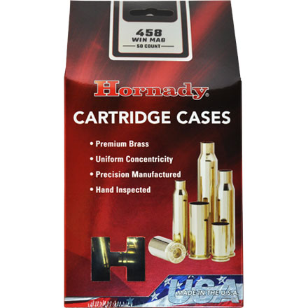 458 Winchester Mag Unprimed Rifle Brass 50 Count