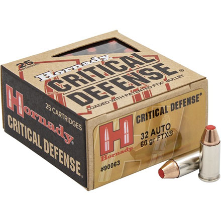32 Auto 60 Grain FTX Critical Defense 25 Rounds