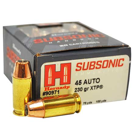 45 Auto 230 Grain XTP Subsonic 20 Rounds