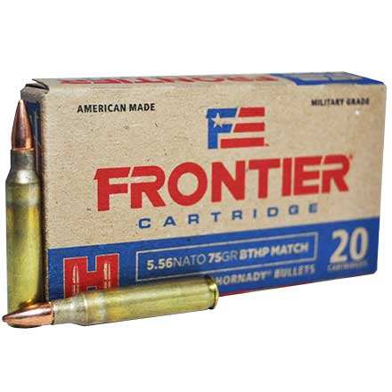 5.56 NATO 75 Grain Boat Tail Hollow Point Match 20 Rounds