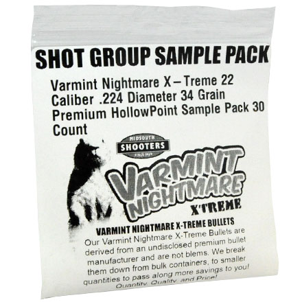 Varmint Nightmare X-Treme 22 Caliber .224 Diameter 34 Grain Premium HollowPoint Sample Pack 30 Count