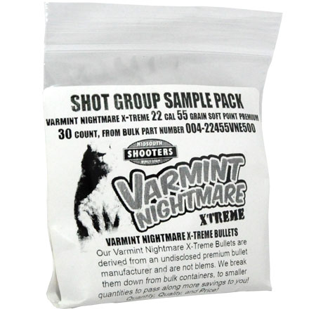 Image for Varmint Nightmare X-Treme 22 Caliber .224 Diameter 55 Grain Premium Soft Point Sample Pack 30 Count