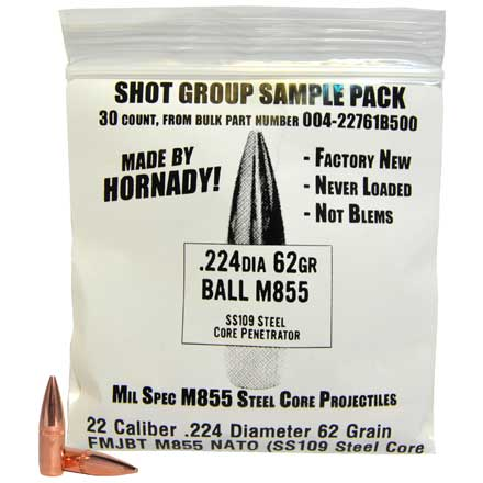 22 Caliber .224 Diameter 62 Grain FMJBT M855 NATO (SS109 Steel Core Penetrator) Sample Pack 30 Count