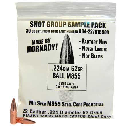 22 Caliber  224 Diameter 62 Grain FMJBT M855 NATO (SS109 Steel Core  Penetrator) Sample Pack 30 Count