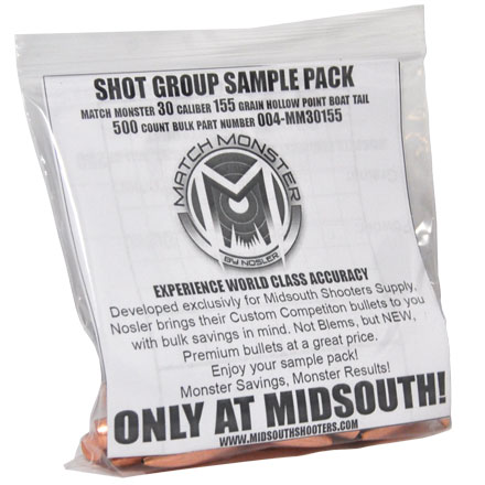 Match Monster 30 Caliber 155 Grain Boat Tail Hollow Point Shot Group Sample 20 Count