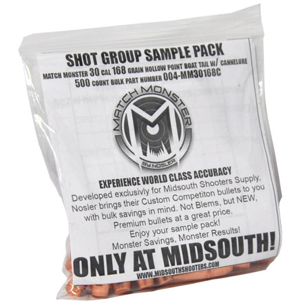 Match Monster 30 Caliber 168 Grain Boat Tail Hollow Point with Cannelure Shot Group Sample 20 Count