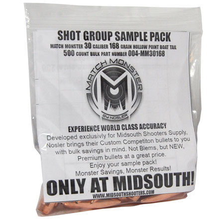 Match Monster 30 Caliber 168 Grain Boat Tail Hollow Point Shot Group Sample 20 Count