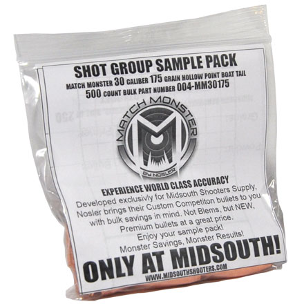 Match Monster 30 Caliber 175 Grain Boat Tail Hollow Point Shot Group Sample 20 Count