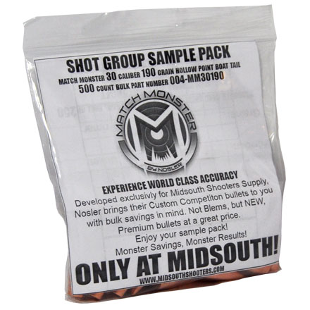 Match Monster 30 Caliber 190 Grain Boat Tail Hollow Point Shot Group Sample 20 Count