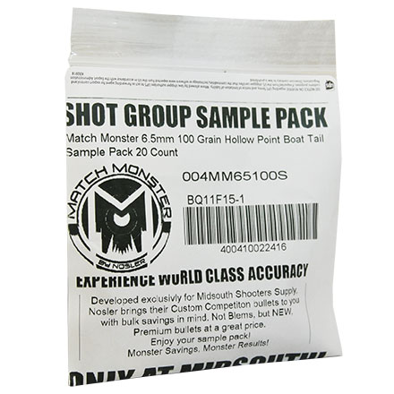 Match Monster 6.5mm 100 Grain Hollow Point Boat Tail Sample Pack 20 Count