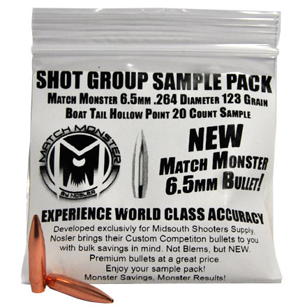Match Monster 6.5mm .264 Diameter 123 Grain Boat Tail Hollow Point Sample Pack 20 Count