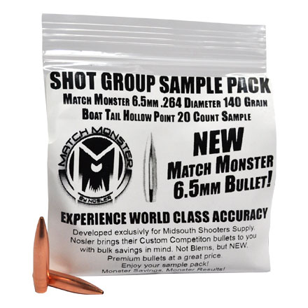 Match Monster 6.5mm .264 Diameter 140 Grain Boat Tail Hollow Point 20 Count Sample Pack