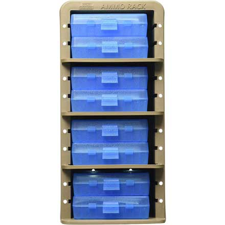 Dark Earth Ammo Rack with 8  P50-9m-24 Clear Blue Ammo Boxes