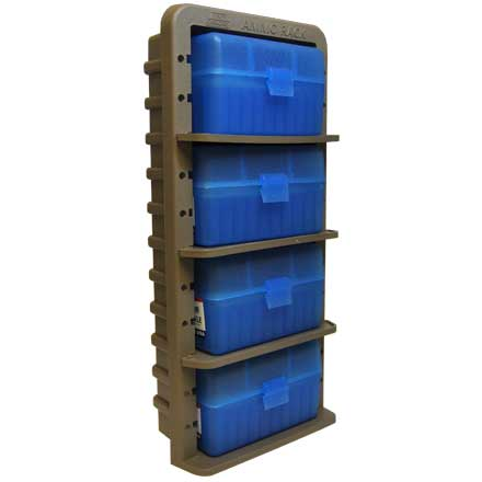 Dark Earth Ammo Rack with 4 RS-50-29 Clear Blue Ammo Boxes