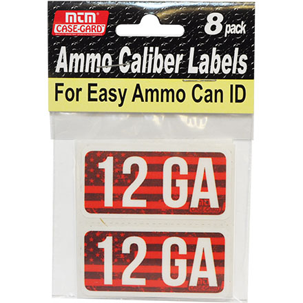 Ammo Caliber Labels for 12 Gauge 8 Pack