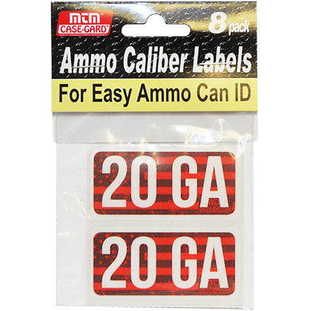 Ammo Caliber Labels for 20 Gauge 8 Pack