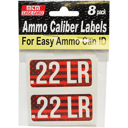 Ammo Caliber Labels for 22 Long Rifle (22LR) 8 Pack
