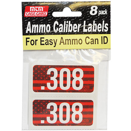 Ammo Caliber Labels for 308 Winchester 8 Pack