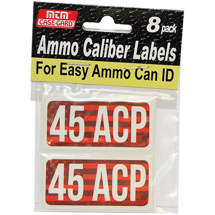 Ammo Caliber Labels for 45 Auto (45 ACP) 8 Pack