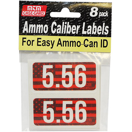 Ammo Caliber Labels for 5.56mm 8 Pack