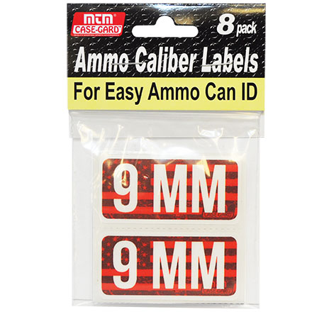 Ammo Caliber Labels for 9mm 8 Pack