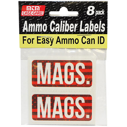 Ammo Caliber Labels for Mags 8 Pack
