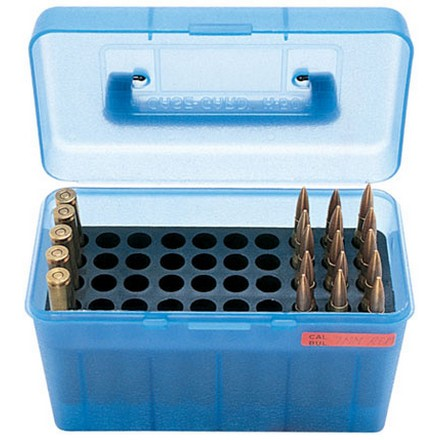 Handled 50 Round Ammo Box 25-06 /270 /280 /30-06 /8mm-06 Blue