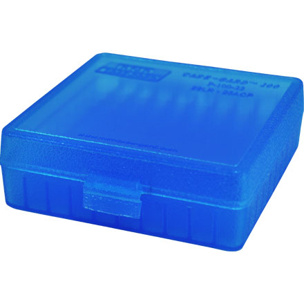 Flip Top 22 LR - 25 ACP 100 Rd. Ammo Box Clear Blue Bullet Up