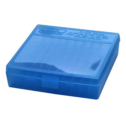 Flip Top 100 Round Ammo Box 44 Mag /44 Special /41Mag /45 Long Colt Clear Blue
