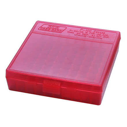 Flip Top 100 Round Ammo Box 44 Mag /44 Special /41Mag /45 Long Colt Clear Red