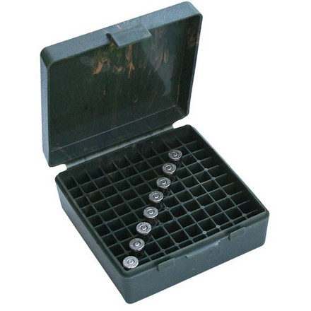 Flip Top 100 Round Ammo Box 45 ACP /10mm /40 Cal / 41 Action Express Green