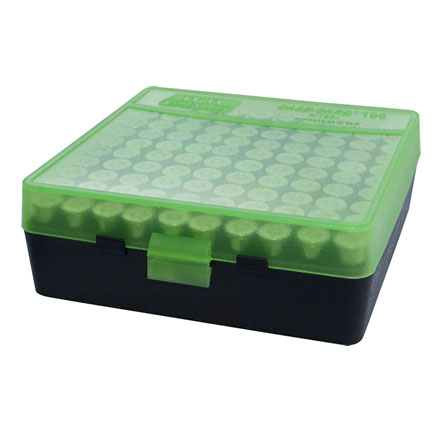 Flip Top 100 Round Ammo Box 45 ACP /10mm /40 Cal / Clear Green/Black