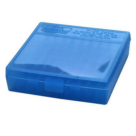 Flip Top 100 Round Ammo Box 45 ACP /10mm /40 Cal / 41 Action Express Blue