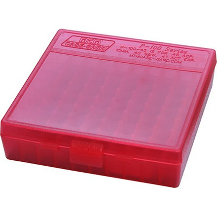 Flip Top 100 Round Ammo Box 45 ACP /10mm /40 Cal / 41 Action Express Red