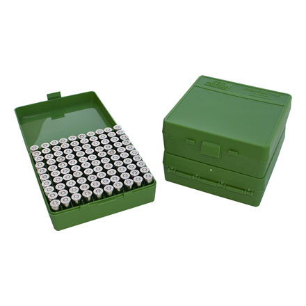 Flip Top 100 Round Ammo Box 9mm,380 ACP Green
