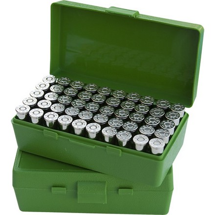 Flip Top 50 Round Ammo Box 40 S&W /10mm /41AE 45Auto Rim /45 ACP Green