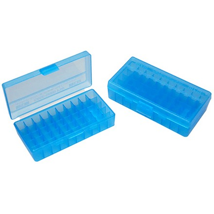 Flip Top 50 Round Ammo Box 40 S&W /10mm /41AE 45Auto Rim /45 ACP Blue