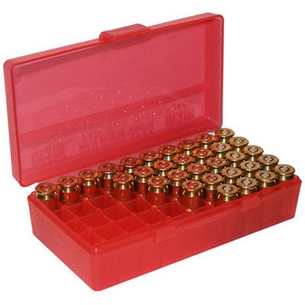 Flip Top 50 Round Ammo Box 40 S&W /10mm /41AE 45Auto Rim /45 ACP Red