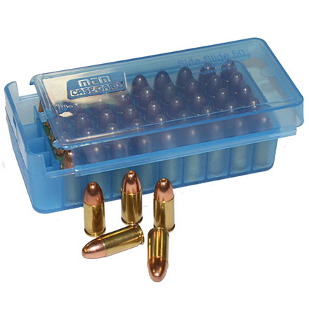 9mm/350 ACP Pistol Side Slide 50 Round Ammo Box Clear Blue