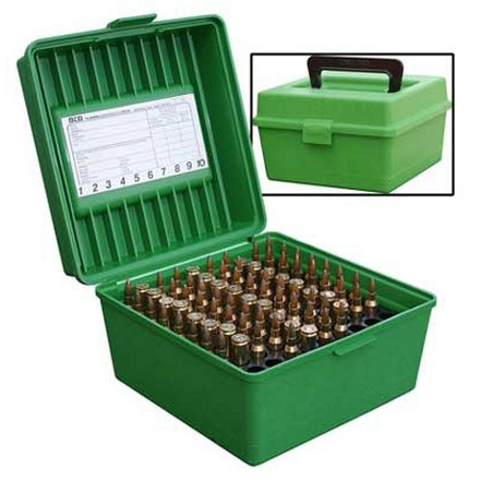 Handled Flip Top 100 Round Ammo Box 22-250 /8mm Win Mag