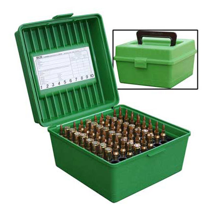 Handled Flip Top 100 Round Ammo Box 22-250 /8mm Win Mag Green