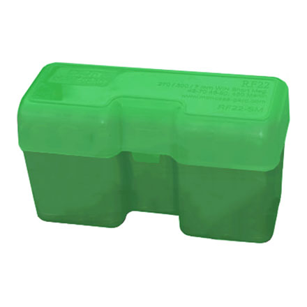 Flip Top 22 Round Ammo Box 300 RUM /338 RUM /378 Weatherby Mag Green